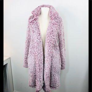 FUZZY TEDDY Fleece Coat Wrap Sweater Small Sherpa